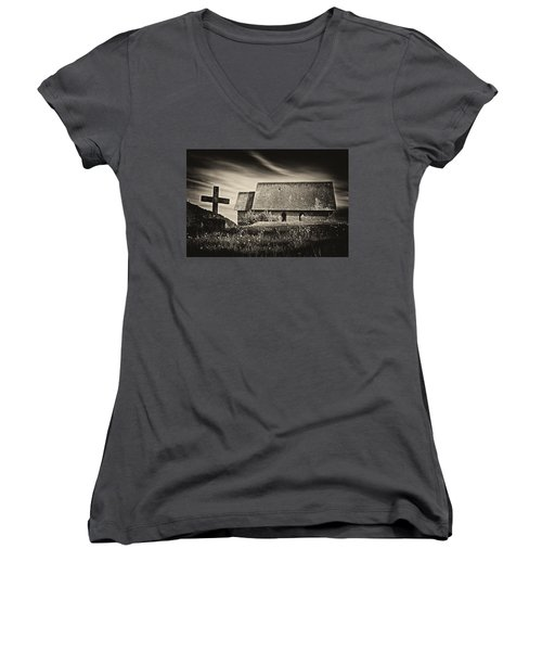 The Butter Church - 365-41 Women's V-Neck T-Shirt (Junior Cut) by Inge Riis McDonald