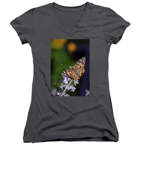 Women's V-Neck T-Shirt featuring the photograph The Butterfly Effect by Alex Lapidus