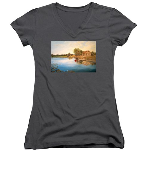 Women's V-Neck T-Shirt (Junior Cut) featuring the painting The Cabin by Alan Lakin