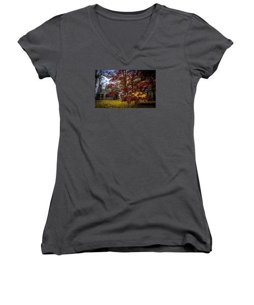 The Cabin In Autumn Women's V-Neck