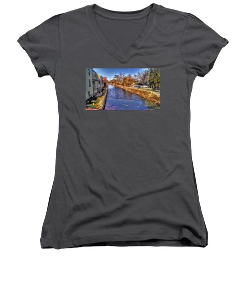 The Canal At New Hope In Winter Women's V-Neck