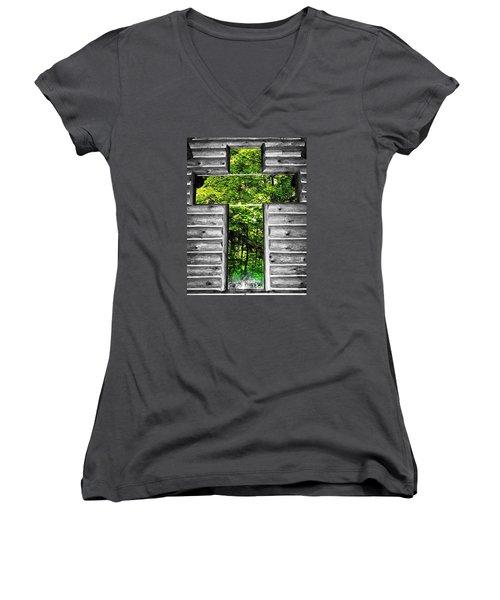 The Carpenters Cross Women's V-Neck T-Shirt (Junior Cut) by Daniel Thompson