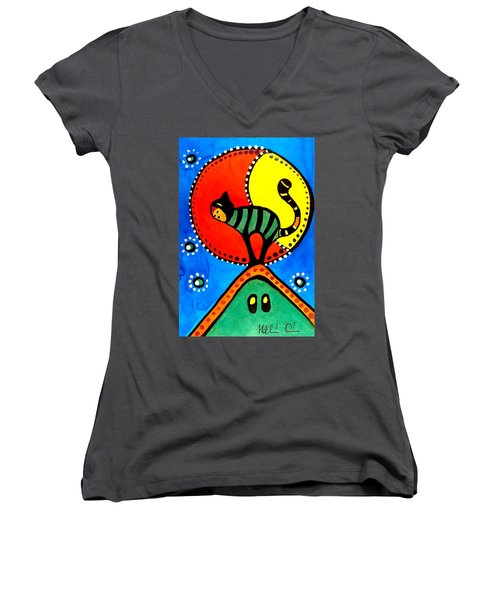 The Cat And The Moon - Cat Art By Dora Hathazi Mendes Women's V-Neck T-Shirt (Junior Cut) by Dora Hathazi Mendes