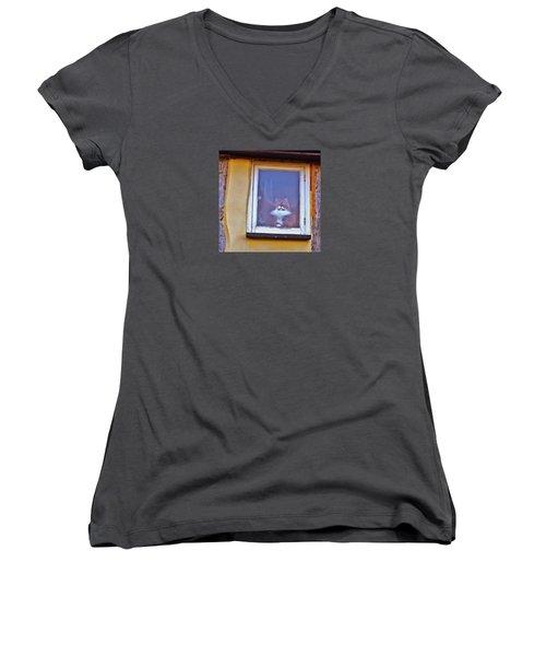 The Cat In The Window Women's V-Neck T-Shirt (Junior Cut) by Anne Kotan