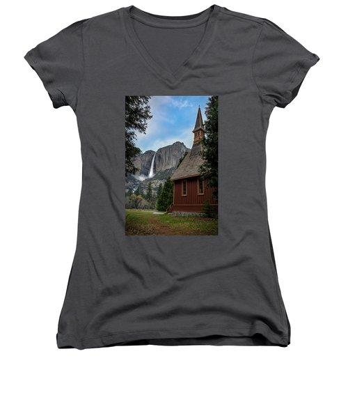 The Chapel Women's V-Neck T-Shirt (Junior Cut) by Sean Foster