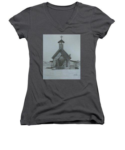 The Chapel  Women's V-Neck T-Shirt (Junior Cut) by Tony Clark