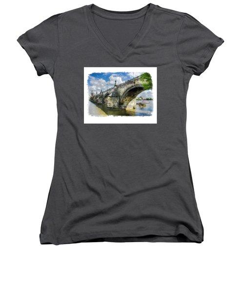 The Charles Bridge - Prague Women's V-Neck T-Shirt (Junior Cut) by Tom Cameron