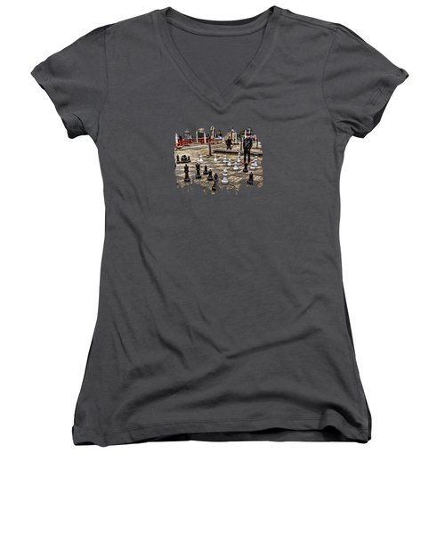 The Chess Match In Pdx Women's V-Neck T-Shirt (Junior Cut) by Thom Zehrfeld