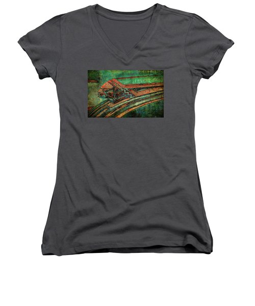Women's V-Neck T-Shirt (Junior Cut) featuring the digital art The Chief by Greg Sharpe