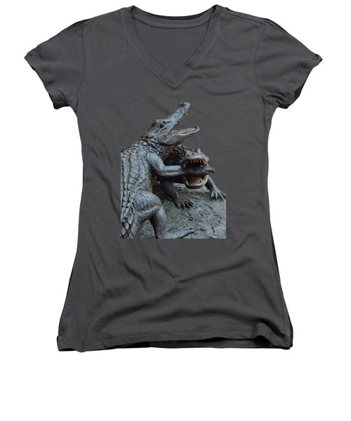 The Chomp Transparent For Customization Women's V-Neck T-Shirt