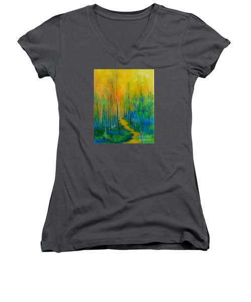 Women's V-Neck T-Shirt (Junior Cut) featuring the painting The Chosen Path  by Alison Caltrider