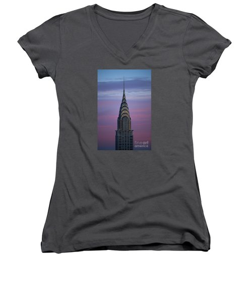 The Chrysler Building At Dusk Women's V-Neck T-Shirt (Junior Cut) by Diane Diederich