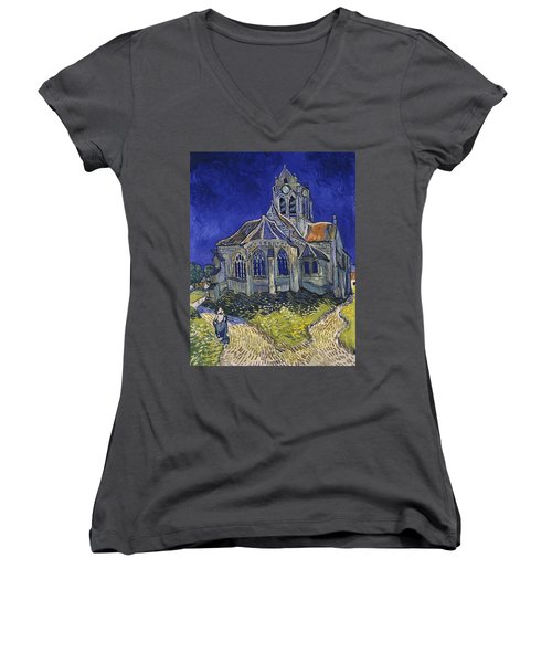 Women's V-Neck featuring the painting The Church At Auvers by Van Gogh