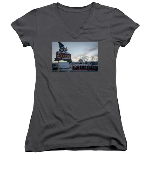 Women's V-Neck T-Shirt (Junior Cut) featuring the photograph The Circus Drive In Wall Township Nj by Terry DeLuco
