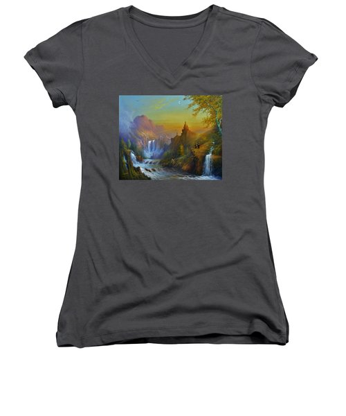 The Citadel Under The Moon Women's V-Neck T-Shirt