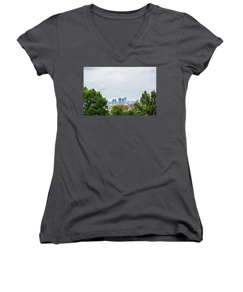 Women's V-Neck T-Shirt (Junior Cut) featuring the photograph The City Beyond by Shelby Young