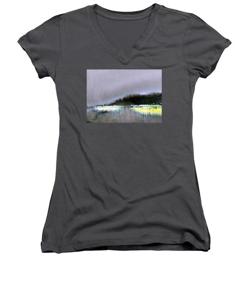 Women's V-Neck T-Shirt (Junior Cut) featuring the painting The City Lights by Ed Heaton