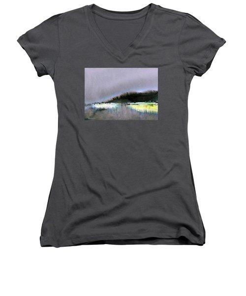 The City Lights Women's V-Neck T-Shirt (Junior Cut) by Ed Heaton