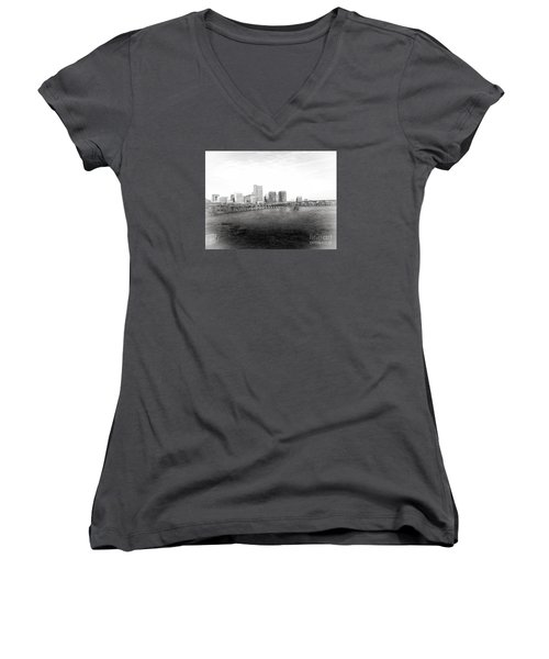 The City Of Richmond Black And White Women's V-Neck T-Shirt (Junior Cut) by Melissa Messick