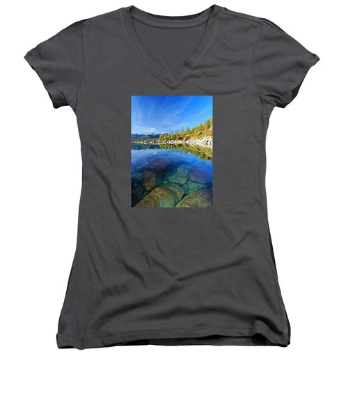 The Clarity Of Lake Tahoe Women's V-Neck (Athletic Fit)