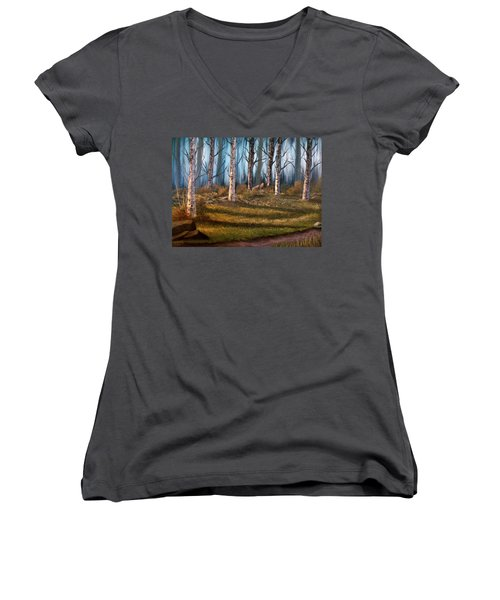Women's V-Neck T-Shirt (Junior Cut) featuring the painting The Clearing by Sheri Keith