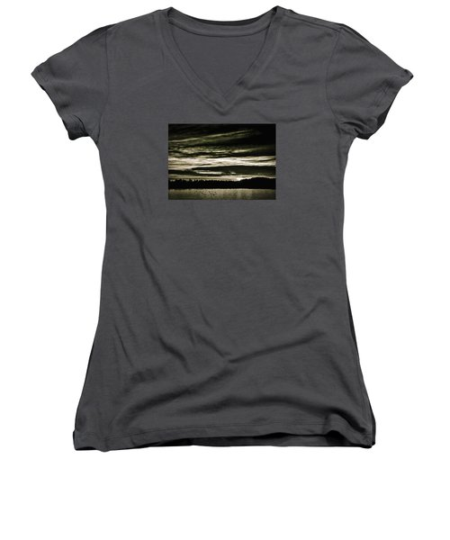 The Coast At Night Women's V-Neck (Athletic Fit)