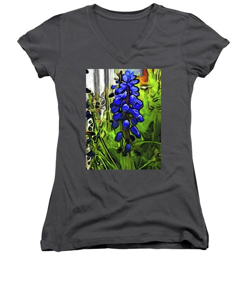 The Cobalt Blue Flowers And The Long Green Grass Women's V-Neck (Athletic Fit)