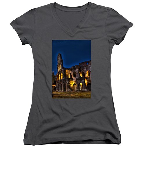 The Coleseum In Rome At Night Women's V-Neck (Athletic Fit)
