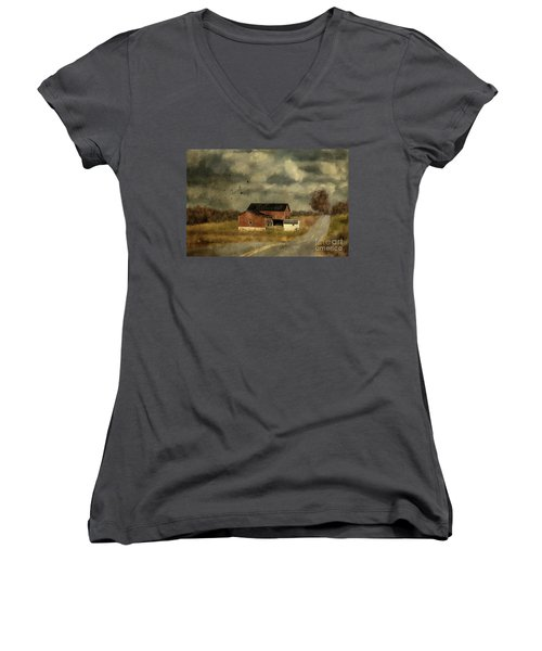 The Coming On Of Winter Women's V-Neck T-Shirt (Junior Cut) by Lois Bryan