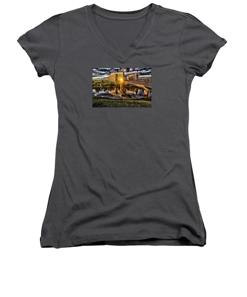 Women's V-Neck T-Shirt (Junior Cut) featuring the photograph The Cross by Michael Rogers