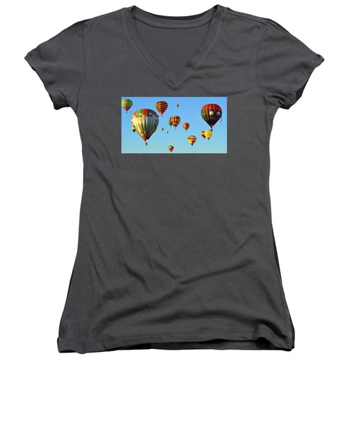 Women's V-Neck featuring the photograph The Crowded Skies by AJ Schibig