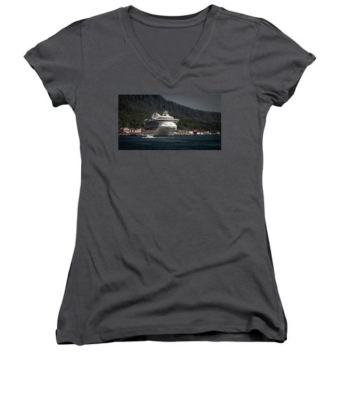 The Cruise Ship And The Plane Women's V-Neck T-Shirt (Junior Cut) by Timothy Latta