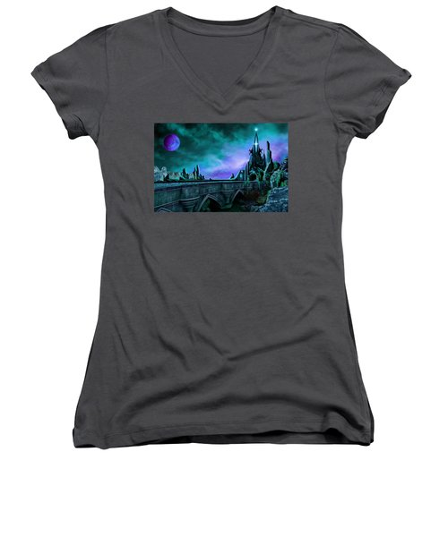 The Crystal Palace - Nightwish Women's V-Neck T-Shirt (Junior Cut) by James Christopher Hill
