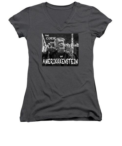 The Curse Of Amerikkenstein Women's V-Neck T-Shirt