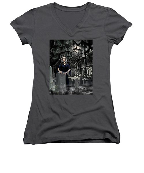 The Curse Of Johnson Bayou Women's V-Neck T-Shirt (Junior Cut) by James Christopher Hill