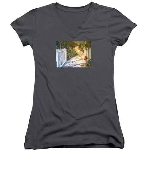 The Cutting Garden Women's V-Neck T-Shirt (Junior Cut) by Alan Lakin