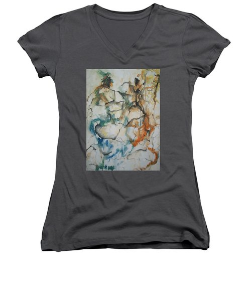 Women's V-Neck T-Shirt (Junior Cut) featuring the painting The Dance by Raymond Doward