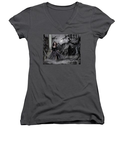 The Dark Caster Comes Women's V-Neck T-Shirt (Junior Cut) by James Christopher Hill