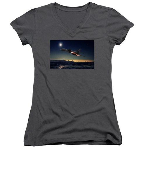 The Dark Knight Women's V-Neck T-Shirt (Junior Cut) by Peter Chilelli