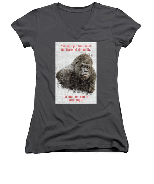 The Dignity Of A Gorilla Women's V-Neck (Athletic Fit)