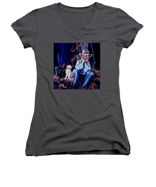 Women's V-Neck T-Shirt featuring the painting The Dilemma by Hanne Lore Koehler