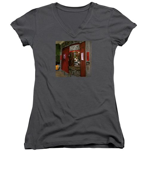 Women's V-Neck T-Shirt (Junior Cut) featuring the painting The Red Door by Belinda Low