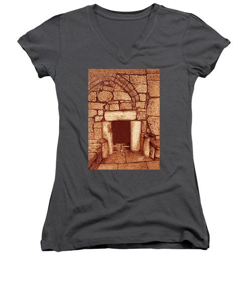 Women's V-Neck featuring the painting The Door Of Humility At The Church Of The Nativity Bethlehem by Georgeta Blanaru