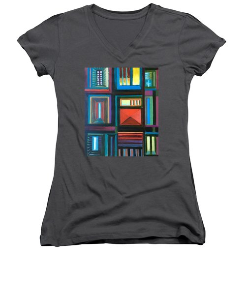 Women's V-Neck T-Shirt (Junior Cut) featuring the painting The Doors Of Hope  by Laila Awad Jamaleldin