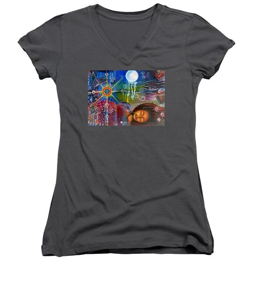 The Dreamer Women's V-Neck T-Shirt (Junior Cut) by Prerna Poojara