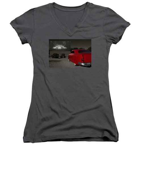 The Drive-in Women's V-Neck T-Shirt (Junior Cut) by Dennis Hedberg
