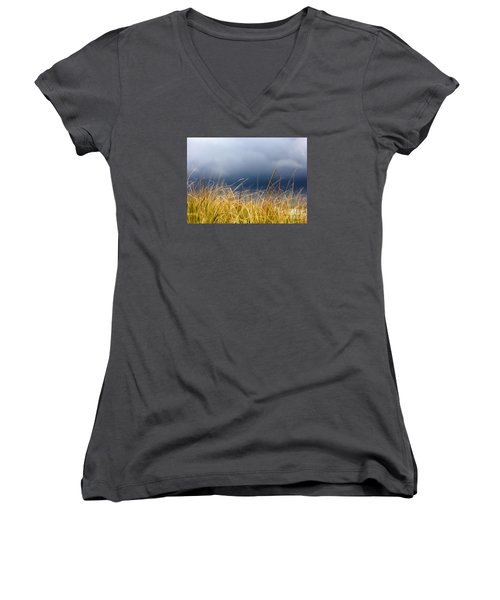 Women's V-Neck T-Shirt (Junior Cut) featuring the photograph The Tall Grass Waves In The Wind by Dana DiPasquale