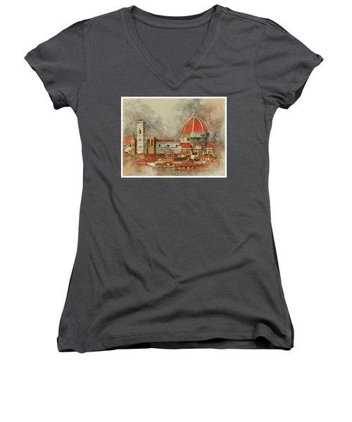 The Duomo Florence Women's V-Neck T-Shirt (Junior Cut) by Brian Tarr