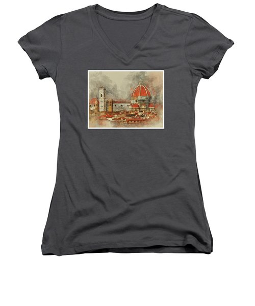 The Duomo Florence Women's V-Neck T-Shirt