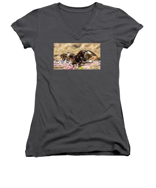 Women's V-Neck T-Shirt (Junior Cut) featuring the photograph The Eagle Have Come Down by Torbjorn Swenelius